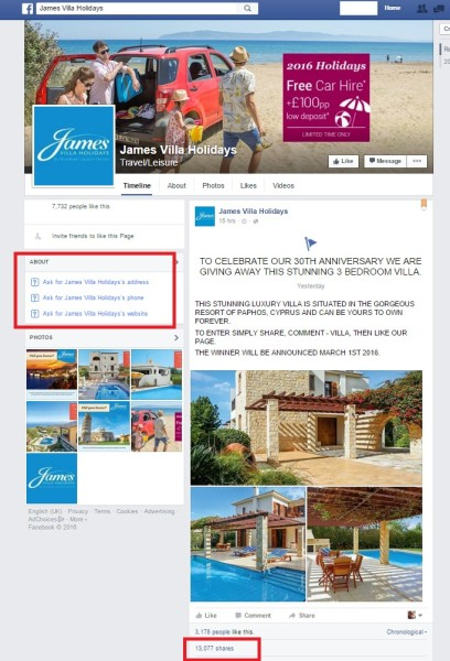 This fake James Villas page has managed to get 13k shares for its competition after only a day!